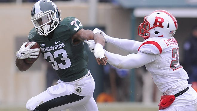 MSU running back Jeremy Langford is going for his 15th straight 100-yard game in Big Ten play today. He'll have to do it against the Big Ten's No. 1 rushing defense.