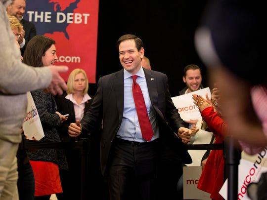 Florida Sen. Marco Rubio takes the stage for a rally