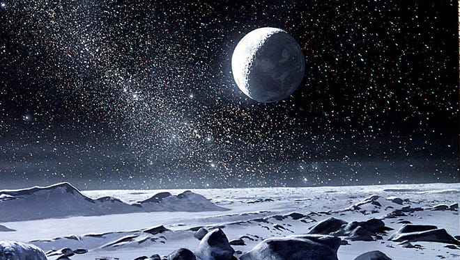 "DATE TAKEN: na--- Illustration by Ron Miller, from ""The Grand Tour.""          The moon Charon shines on the methane ice surface of Pluto in this artist's conception of what it would be like to stand on the solar system's tiniest planet.  The bright star in the lower left sky is the Sun, 1,600 times fainter than when seen from Earth. ORG XMIT: UT14264"