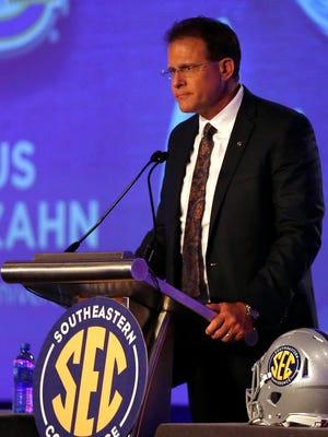 Auburn coach Gus Malzahn speaks during the first day of SEC Media Days at Hyatt Regency Birmingham-The Wynfrey Hotel.