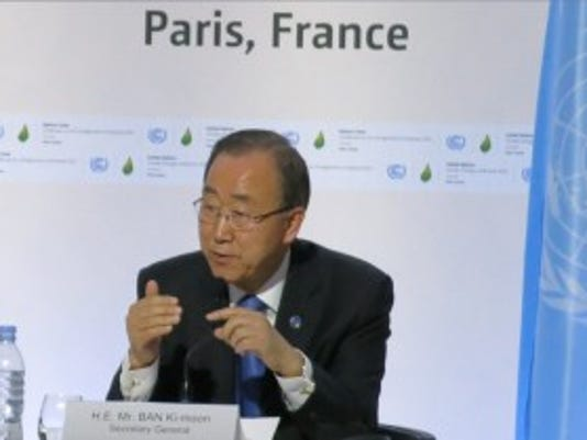 UN Secretary-General Ban Ki-moon speaks during negotiations at COP21 in Paris.