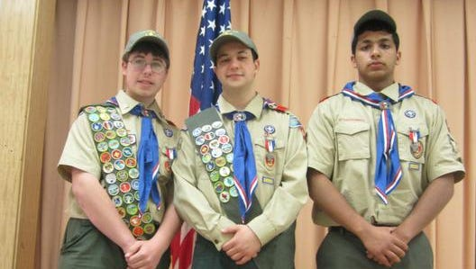 Three Boy Scouts from Troop 45 in Van Cortlandtville attained their Eagle rank on April 26: Christopher Callinan, Liam Breen and Sachin Sanmugaraja.