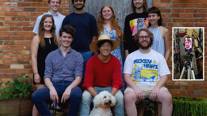 Taking a break from their collaboration are nine of the Smithonia 10. From left and sitting are Benjamin Tasistro-Hart, Eric Lee and Sam Lowe. Standing, from left, are Marissa Kuczkowski, Cameron Champion, Vijay Rajkumar, Elinor Walker, Nicholas Byrne and Annie Simpson. The inset is a photo of Scott Diekema, who had returned to Minnesota but joined the visit via FaceTime. A constant companion and mascot of the Smithonia 10 has been John and Jane Robertson's dog, Mandy.