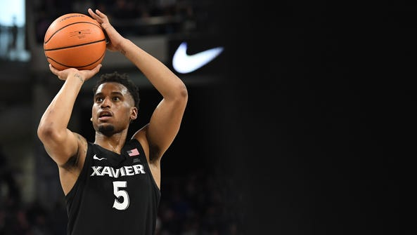Xavier Musketeers guard Trevon Bluiett goes up for