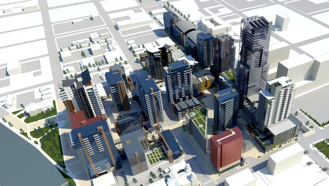 Renderings of West 2nd District at the end of phase 6, when construction is complete. Facing northwest.