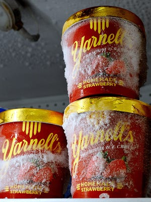 After a shortage of quality strawberries led to a production shutdown, Yarnell's Homemade Strawberry Ice Cream is back in store freezers, like this one at Town and Country in Mountain Home.