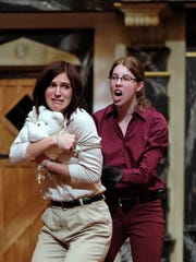 """Natalia Razak Wallace as Rutland and Jess Hamlet as Young Clifford perform in """"War of the Roses"""" from the MBC's Sweet Wag Shakepeare Master of Fine Arts theater company."""