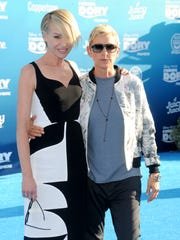 Portia de Rossi and Ellen DeGeneres arrive at 'Finding