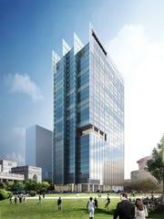An external rendering of Bridgestone Americas' new corporate headquarters.