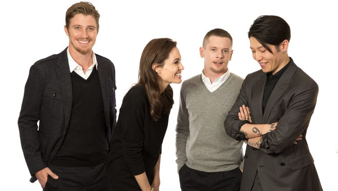 Director Angelina Jolie, with actors Garrett Hedlund, Jack O'Connell and Miyavi Ishihara enjoyed lighter moments here and on the set despite the harrowing story of 'Unbroken.'