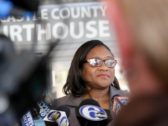 Sherry Walker Dorsey, who has been a spokesperson for the family of Amy Inita Joyner-Francis, speaks to press last year after the verdict was read for three classmates charged in her death.