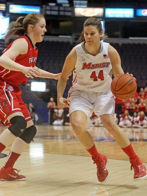 Marist College's Tori Jarosz looks to make a move during the Metro Atlantic Athletic Conference semifinals against Fairfield at the Times Union Center in Albany on March 8.