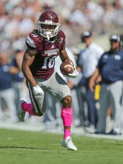 Mississippi State's Deddrick Thomas (18) runs free after making a catch. Mississippi State and BYU played in a college football game on Saturday, October 14, 2017 in Starkville. Photo by Keith Warren