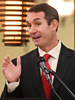 Auditor General Eugene DePasquale gives the Reviews & Audits Update as the York County Economic Alliance hosts its Spring Legislative Luncheon at Wyndham Garden York in West Manchester Township, Thursday, May 17, 2018. Dawn J. Sagert photo