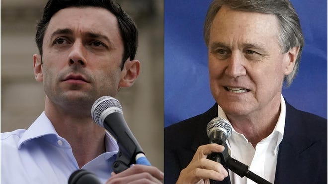 This combination of photos shows Democratic candidate for Senate Jon Ossoff, left, on Nov. 10, 2020, and Republican candidate for Senate Sen. David Perdue on Nov. 2, 2020, in Atlanta. The two are in a runoff election for the Senate seat.