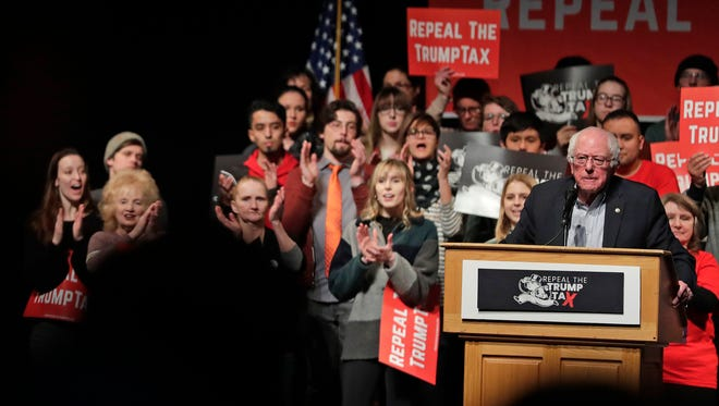 Sen. Bernie Sanders, I-VT), spoke at the Weidner Center on the University of Wisconosin-Green Bay campus on Saturday. The event was part of the 'Repeal The Trump Tax' tour.