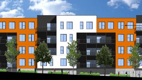 Hubbell Realty Co. plans to build a five-story apartment complex called Carbon 555 on the same block as the Wellmark YMCA.