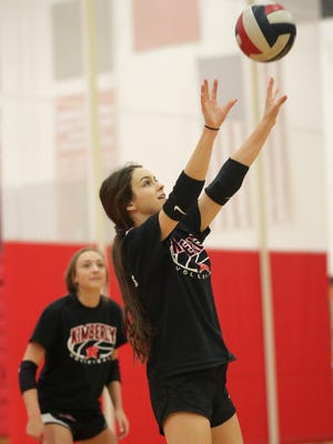 Kimberly High School's Kayla Wirth during volleyball practice on Wednesday, October 11, 2017, in Kimberly, Wis. 