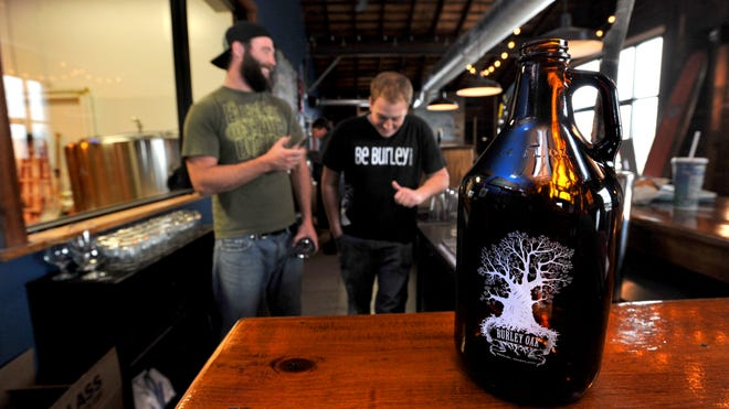 Burley Oak owner Bryan Brushmiller and Zack Newton are shown behind the bar in the brewery's tap room.