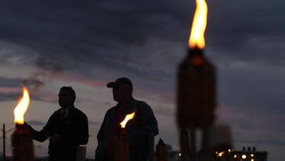 Ortley Beach residents gathered Thursday to mark the third anniversary of superstorm Sandy's landfall, which devastated the neighborhood.