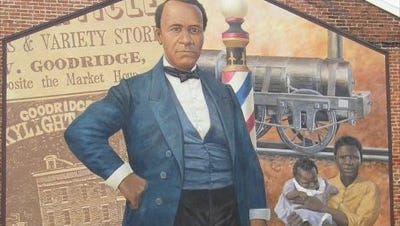 This  Mural of York shows William C. Goodridge's rise from a slave in Maryland to an apprenticeship and freedom in York and then as a successful businessman. His York rail  line was part of operations that helped fugitives gain their freedom.