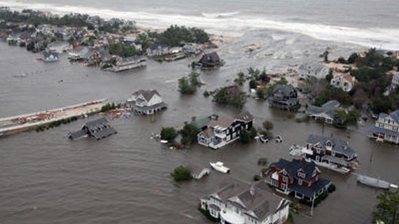 Flooding in Mantoloking following superstorm Sandy's storm surge