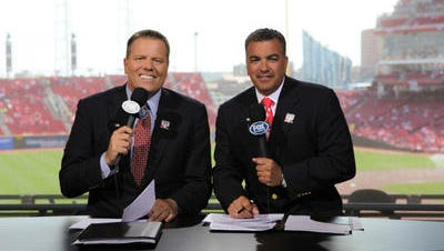 """Jim Day, right, and Jeff Piecoro on the """"Reds Live"""" set in Great American Ball Park"""