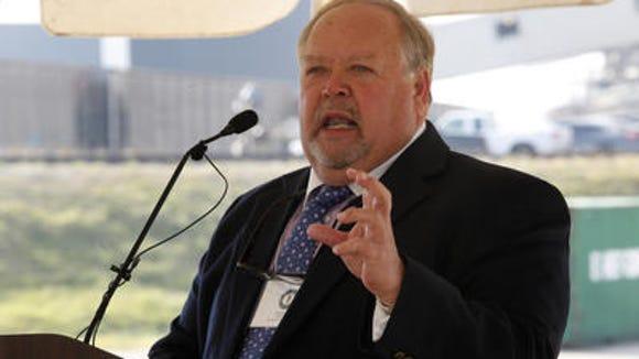 Rep. Jim Gooch speaking at Mill Creek power plant last year.