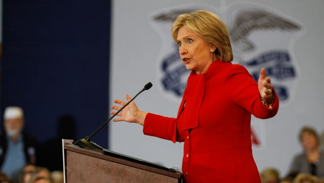 Democratic presidential candidate Hillary Clinton speaks to supporters at Buford Garner Elementary School in North Liberty on Sunday, Jan. 24, 2016.