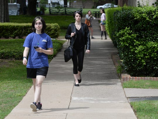 Students make their way along the campus of Centenary