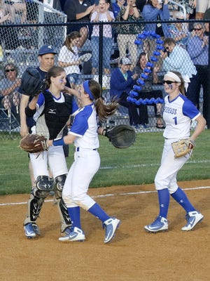 Horseheads players celebrate their 7-6 victory over Binghamton on Thursday at Horseheads Middle School.