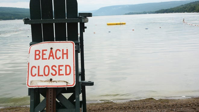 An all-too-familiar sight in recent years at Honeoye Lake, thanks to blue-green algal blooms.