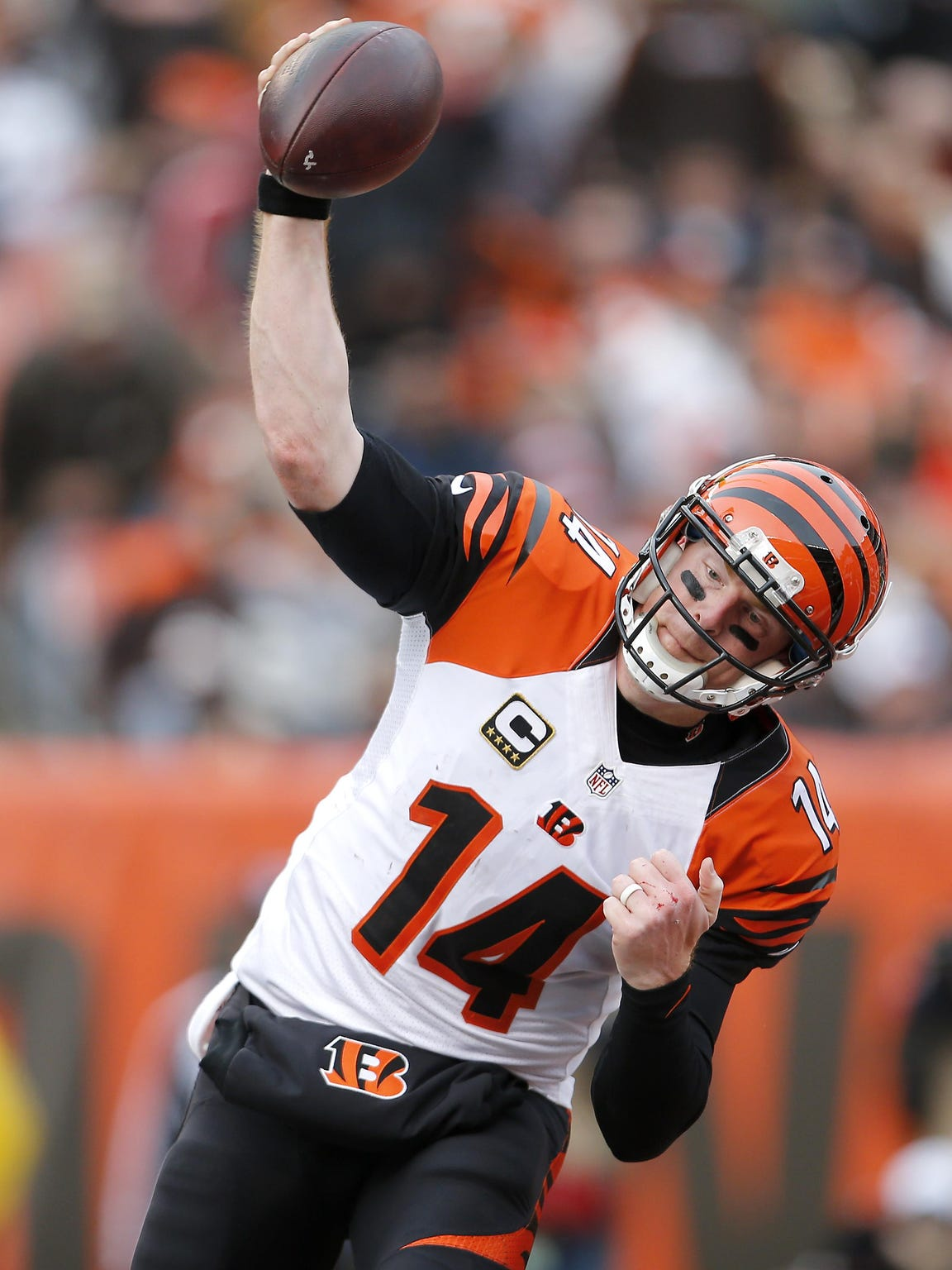 Andy Dalton spikes the ball after scoring a touchdown