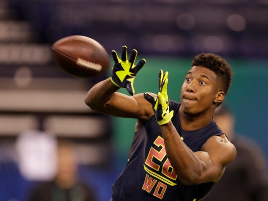 East Carolina wide receiver Zay Jones runs a drill at the NFL football scouting combine Saturday, March 4, 2017, in Indianapolis.