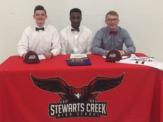 Three Stewarts Creek basketball standouts recently signed to play at the next level. From left to right, Tyler Conley signed with Cumberland University, Terrell Brown signed with Bethel University and Jonathan Pelleaux signed with Cumberland University.