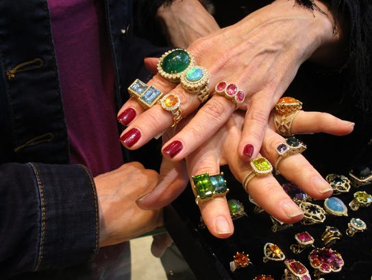 Erica Courtney rings shown at kiki in Lafayette.