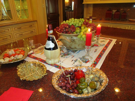 An Italian-themed dinner party was held at the home