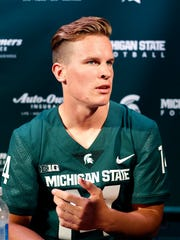 Michigan State quarterback Brian Lewerke answers questions during the team's media day Monday, Aug. 7, 2017 in East Lansing.