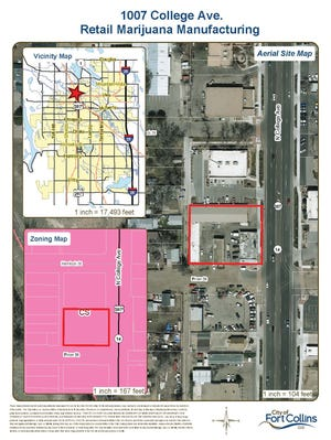 Map of 1007 College Ave. proposed Retail Marijuana Manufacturing business.