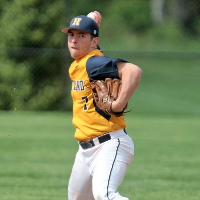 Hartland's Alex Vydick threw a five-inning no-hitter for the Eagles in the first game of a doubleheader at Westland John Glenn on Friday. Hartland won both games, 13-0 and 9-2.