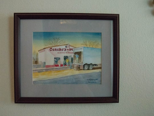A painting of Concho's Mercantile in San Miguel, owned and run by Isabel Valles Uribe and Concepcion Uribe from 1947 to 1972.