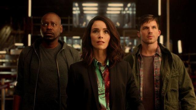"Gulf Breeze native Abigail Spencer, center, stars with Malcolm Barrett (left), and Matt Lanter in NBC's time-travel drama ""Timeless."""