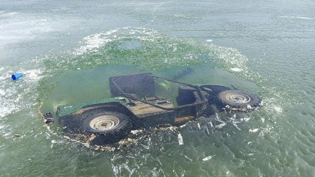 This is one of four ATV's that fell through the ice of Duck Creek Bay of Fort Peck Reservoir on the weekend of Feb. 18. Two trucks also fell through.