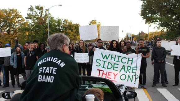 Homecoming Day protest at Michigan State
