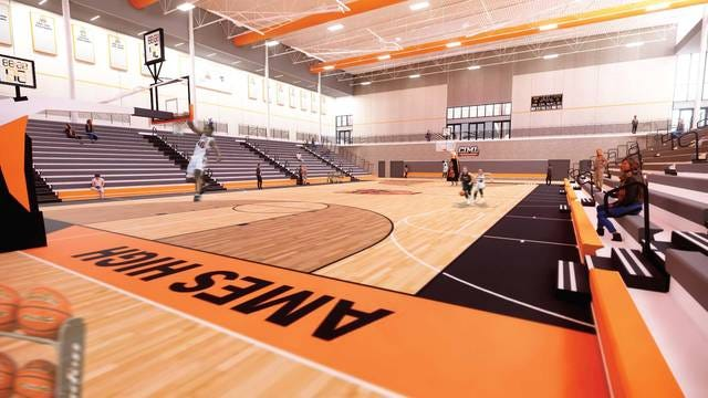Here's a modified look of what the new Ames High gymnasium will look like as a result of the $195,000 donation from Harrison and Brittany Barnes. Photo provided by the Ames Community School District.