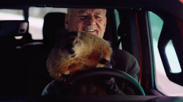 Bill Murray reprises his role as Phil Connors from the 1993 film 'Groundhog Day,' in a scene from Jeep's Super Bowl spot.