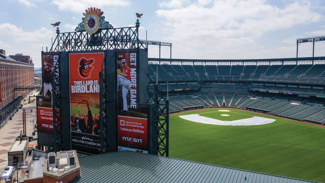 In this aerial photo, Oriole Park at Camden Yards is closed like other Major League stadiums.