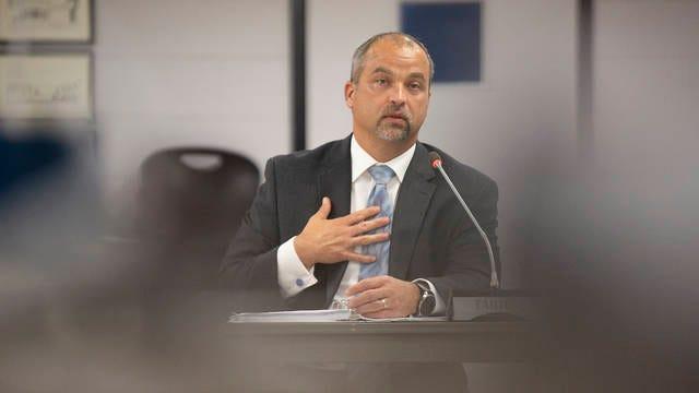 Mt. Juliet Elementary School principal Michael Hickman is interviewed for the position of superintendent of schools.