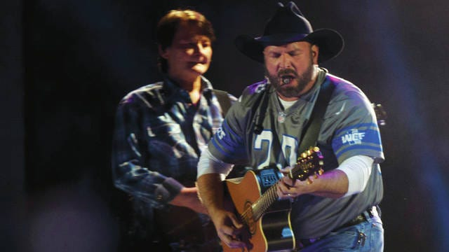 Garth Brooks performs at Ford Field in Detroit on Feb. 22.