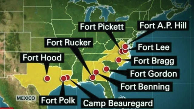 The U.S. Army has 10 Confederate-named bases in 6 Southern states.